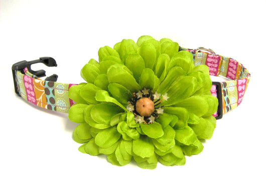 Green Dog Collar Detachable Flower