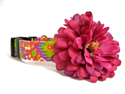 Pink Dog Collar Detachable Flower