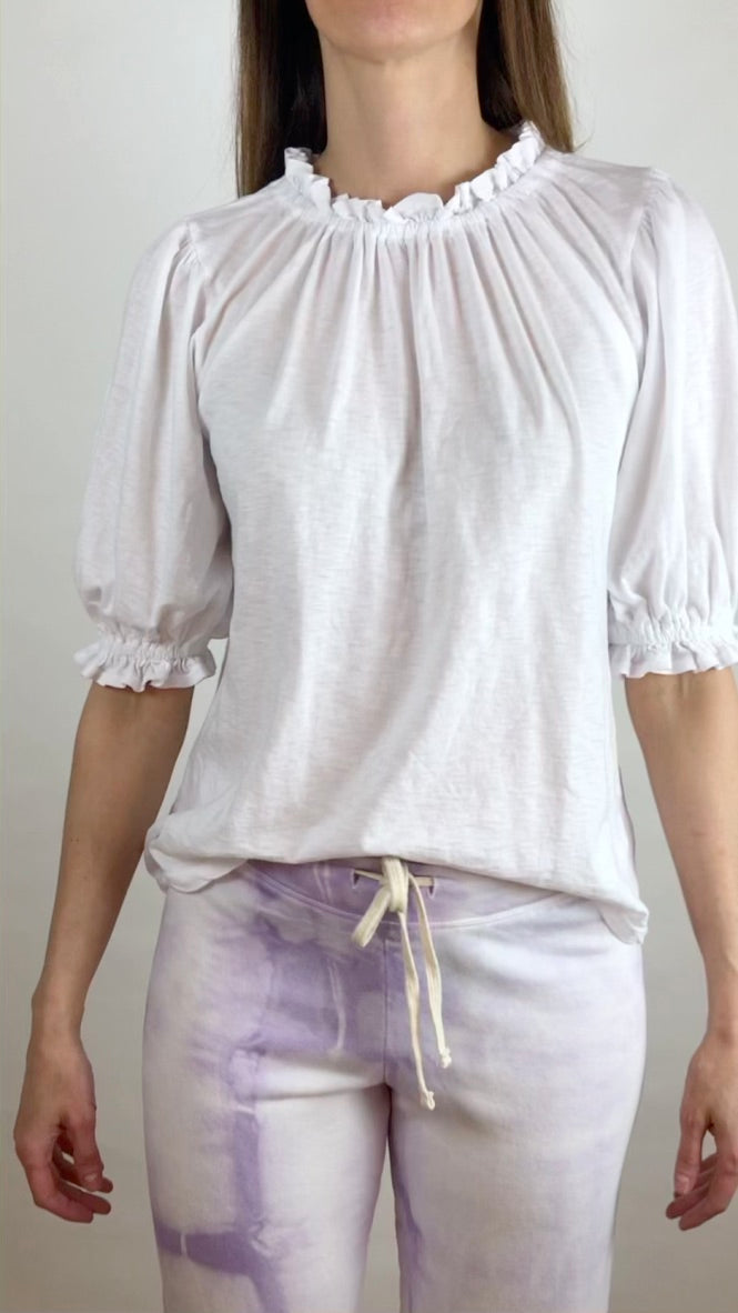 Bubble Sleeve Top - White