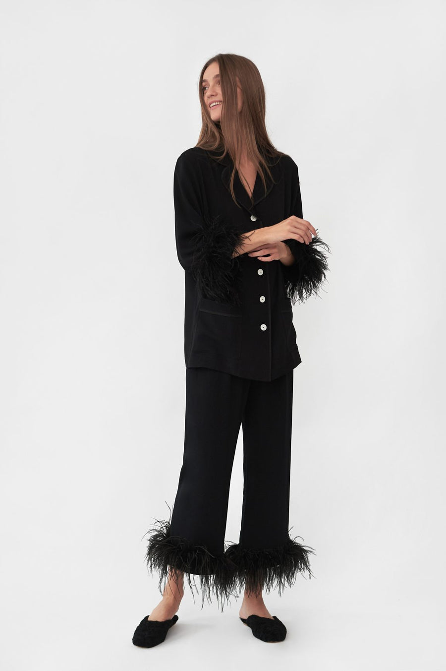 Party Pajama Set with Feathers - Black