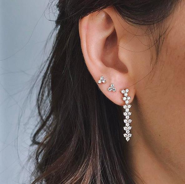 Diamond Trio Stud Earring
