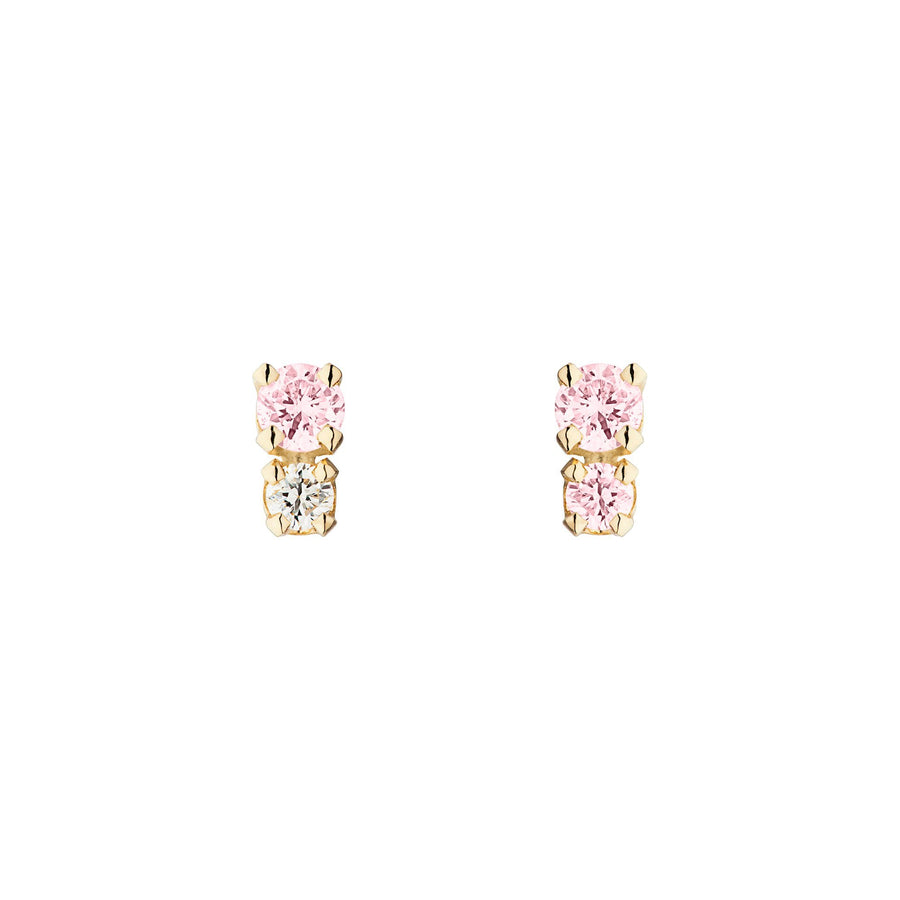 Double D Earrings - Pink Sapphire