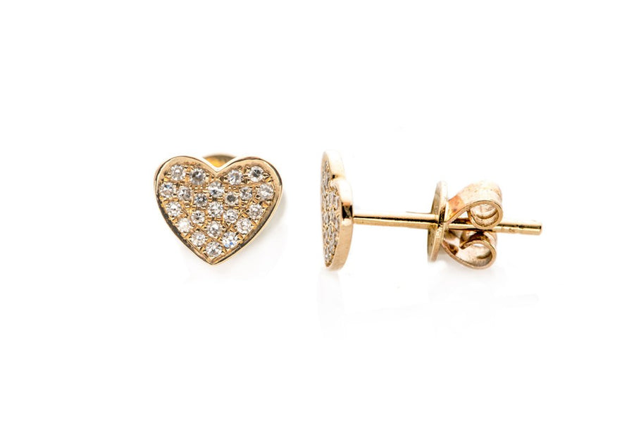 Single Diamond Heart Stud Earring - YELLOW GOLD