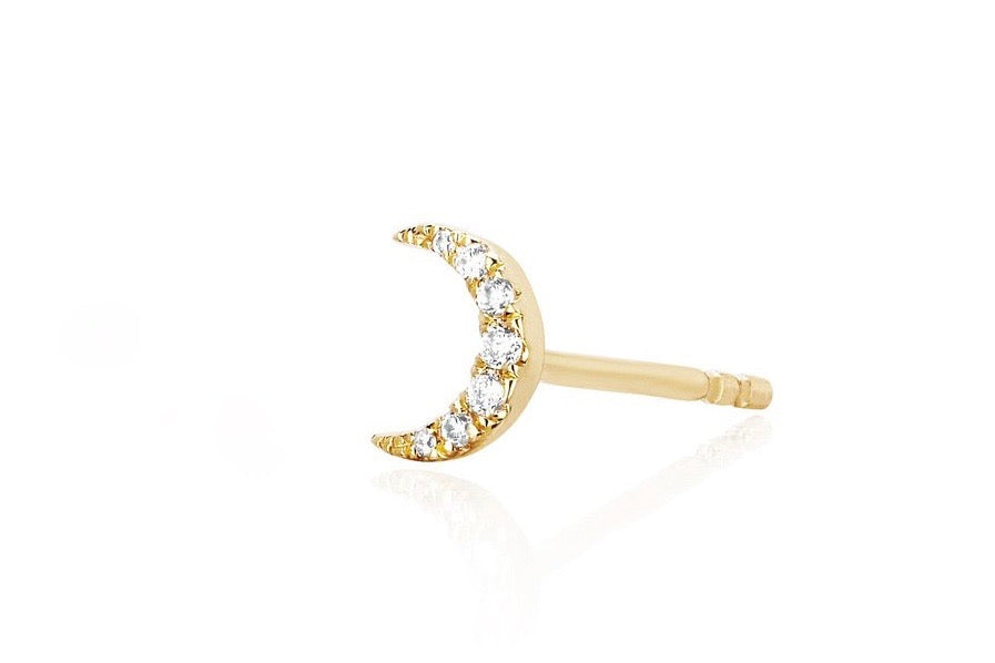 Mini Diamond Moon Stud Earrings (SINGLE)