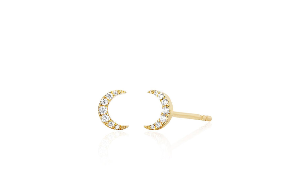 Mini Diamond Moon Stud Earrings (PAIR)