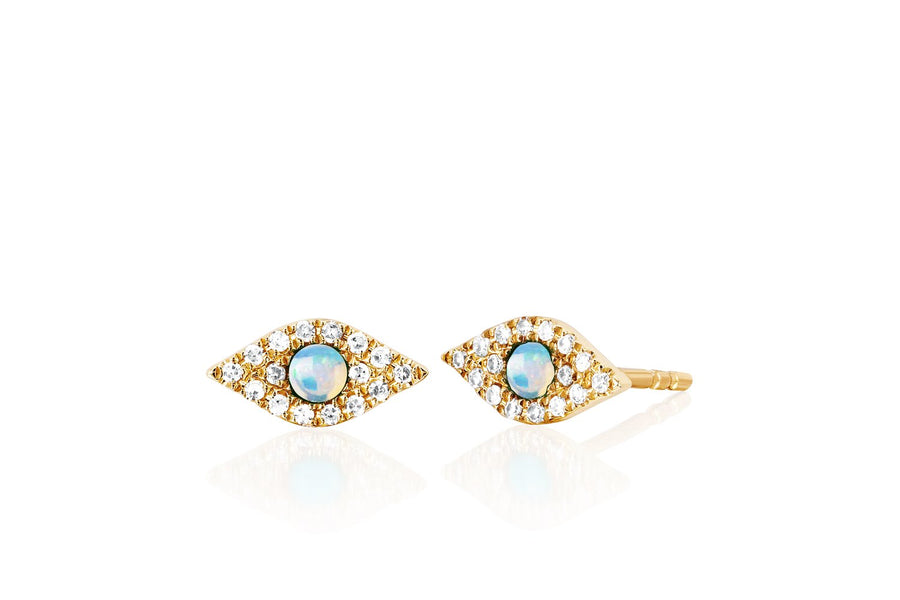 DIAMOND JUMBO OPAL EVIL EYE STUD EARRINGS