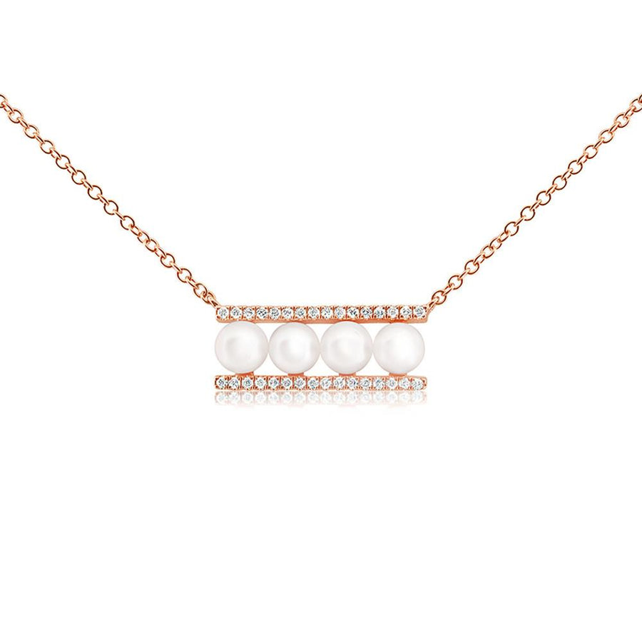 Pearl and Diamond Bar Necklace - Rose Gold