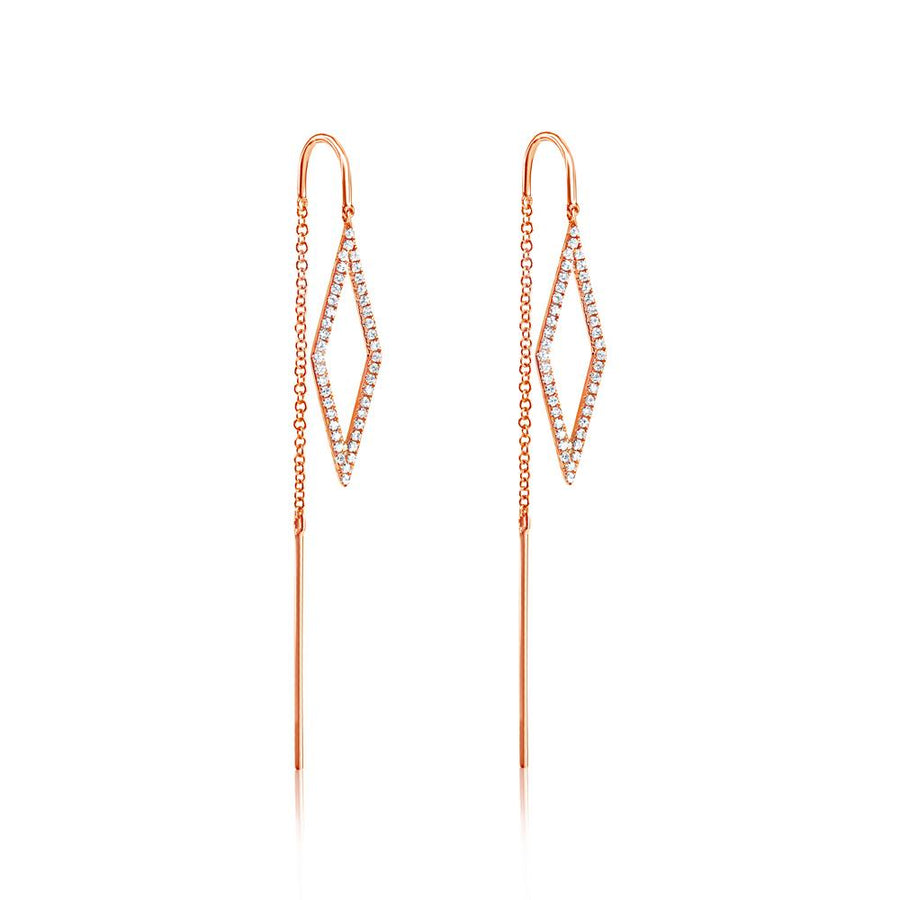Diamond Geometric Threader Earrings - Rose Gold