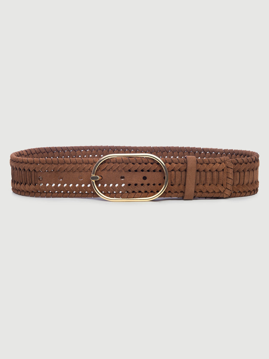 Grand Oval Suede Braided Belt - TOBACCO