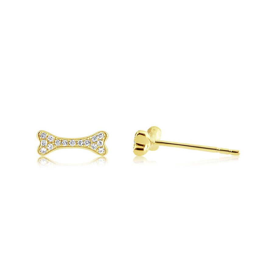 Diamond Dog Bone Earrings Yellow Gold