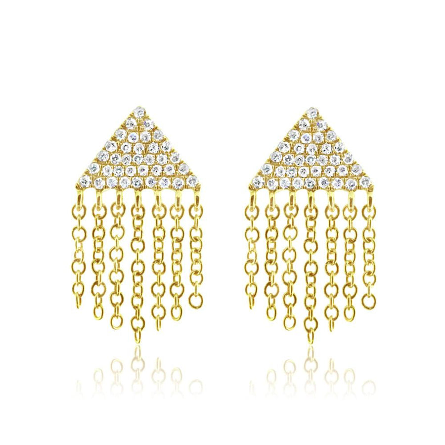 Diamond Triangle Fringe Earrings - Yellow Gold