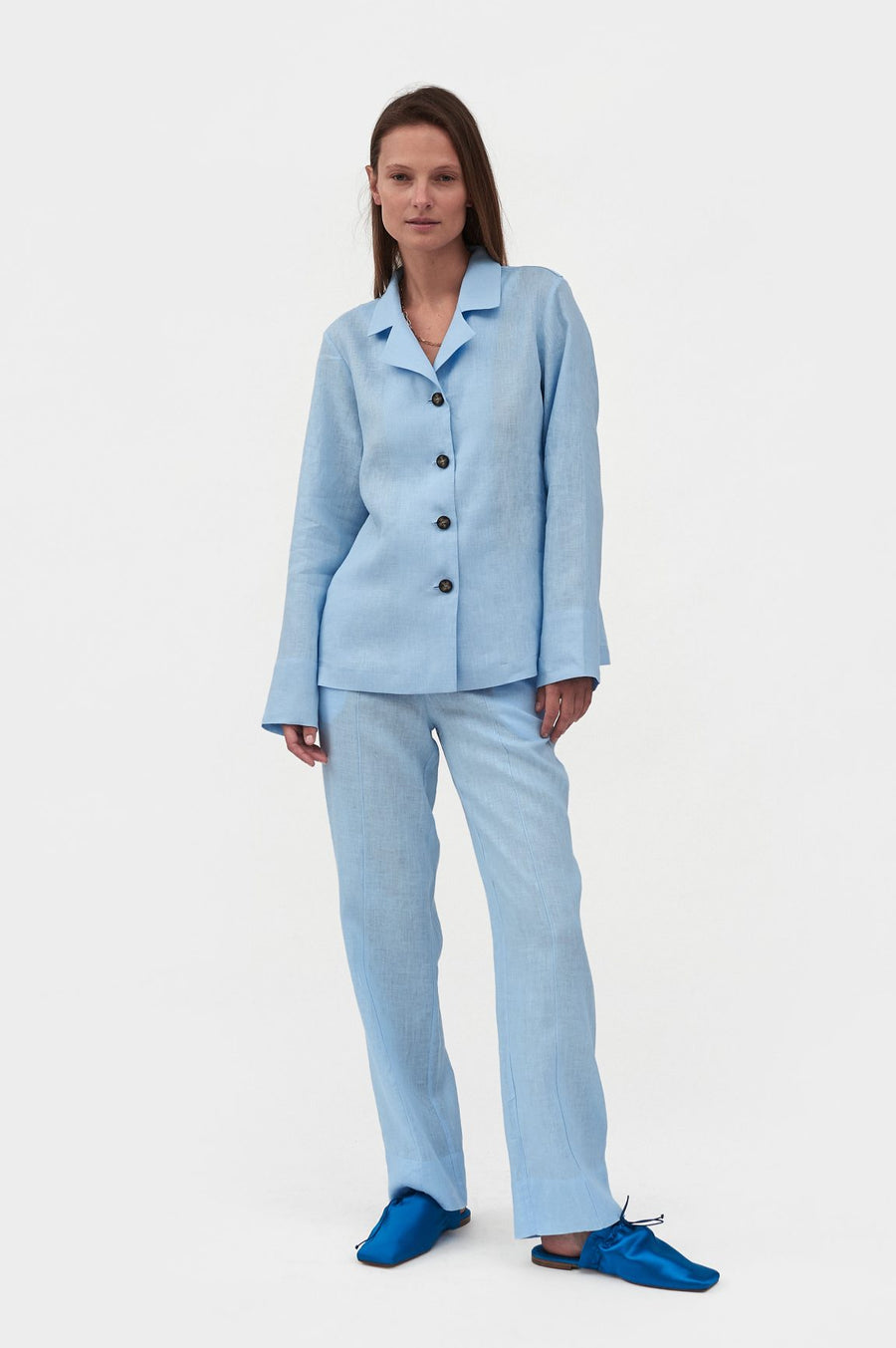 Azure Linen Pajama Set with Pants