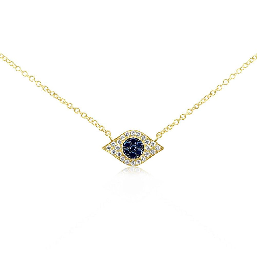 Diamond and Sapphire Evil Eye Necklace - Yellow Gold