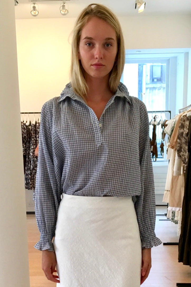 Sasha Frill Neck Blouse - BLUE/WHITE
