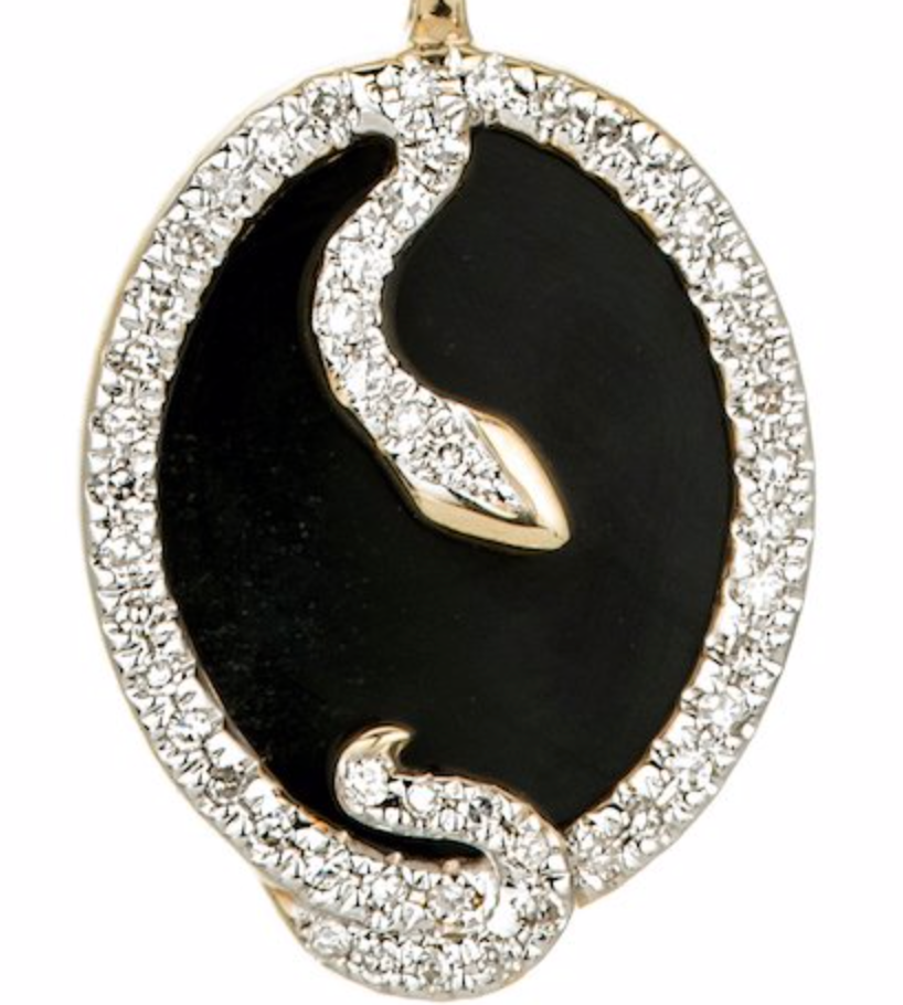 Onyx + Diamond Oval Snake Pendant - Yellow Gold