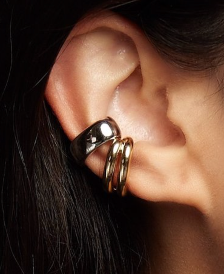 Chunky Tube Stacked Ear Cuff - Yellow Gold