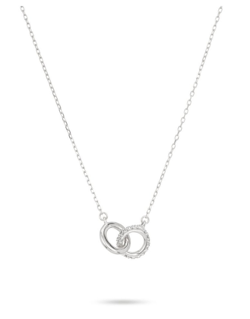 Pave Interlocking Loop Necklace - Sterling Silver