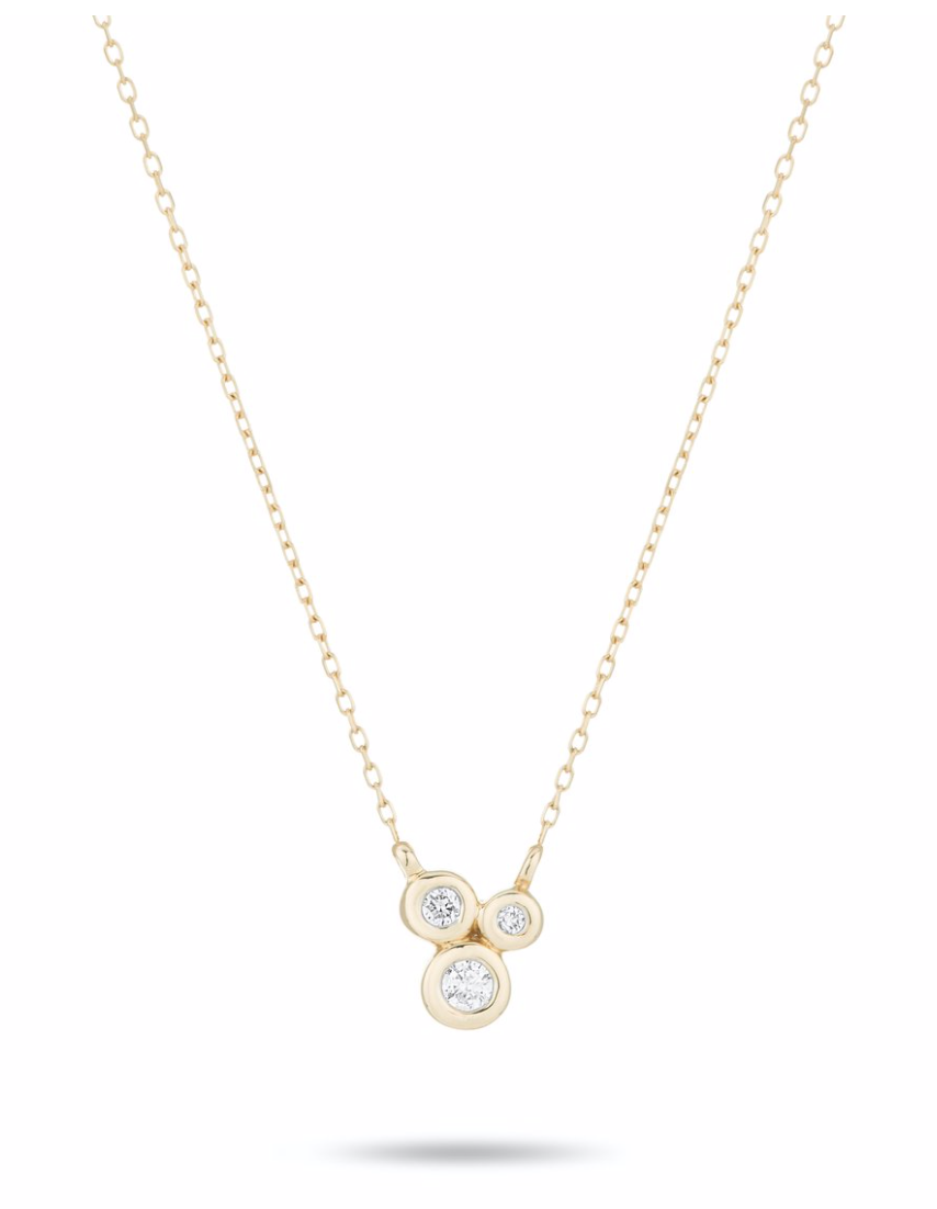 3 Diamond Barnacles Necklace - Yellow Gold