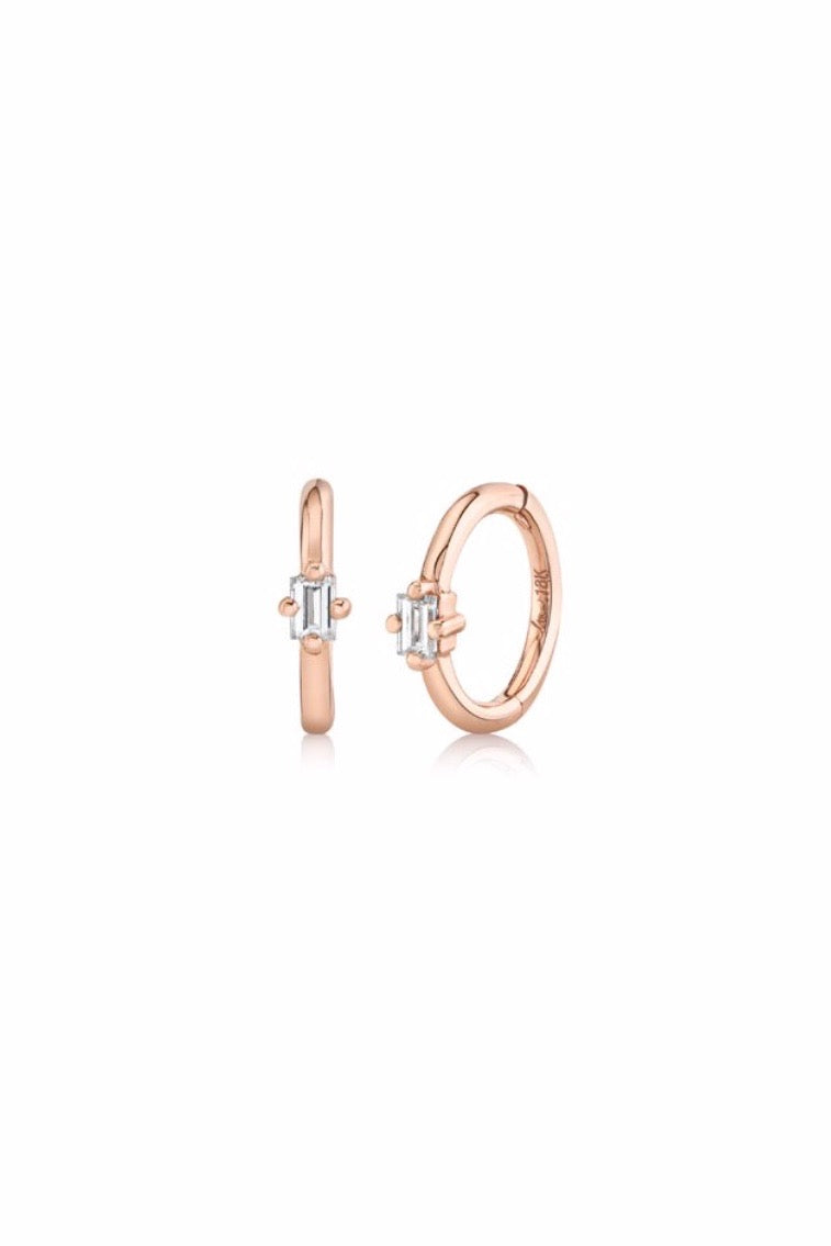 Small Seamless Huggies with Diamond Baguette (Pair) - Rose Gold