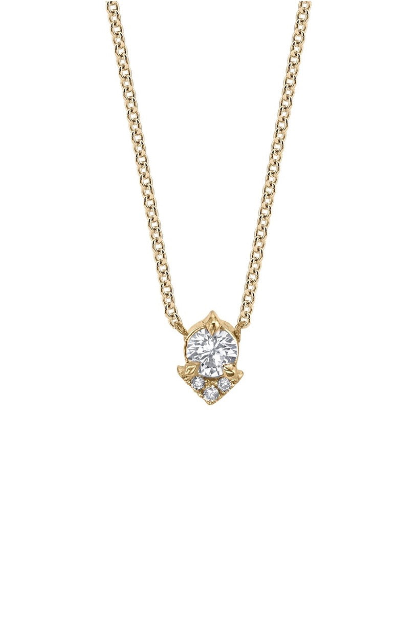 Spike Necklace with White Diamond Pave Necklace - Yellow Gold