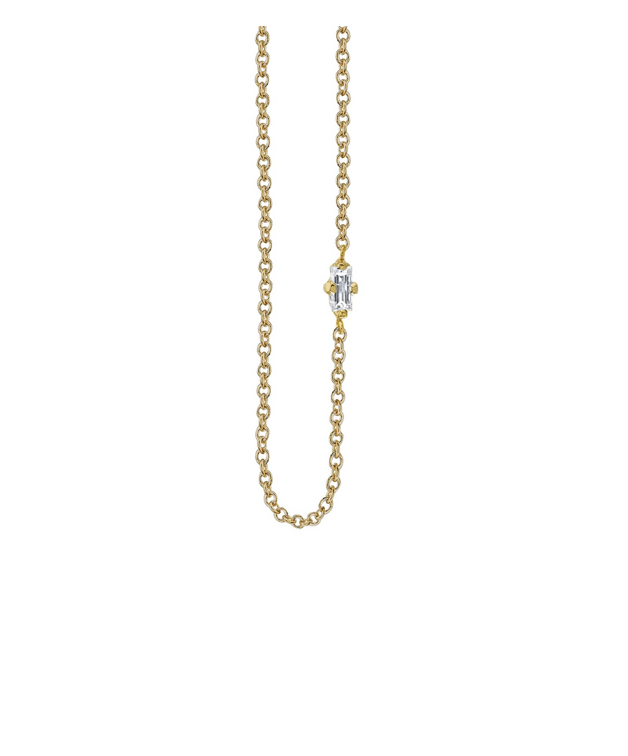 Floating Necklace with White Diamond Baguette - Yellow Gold