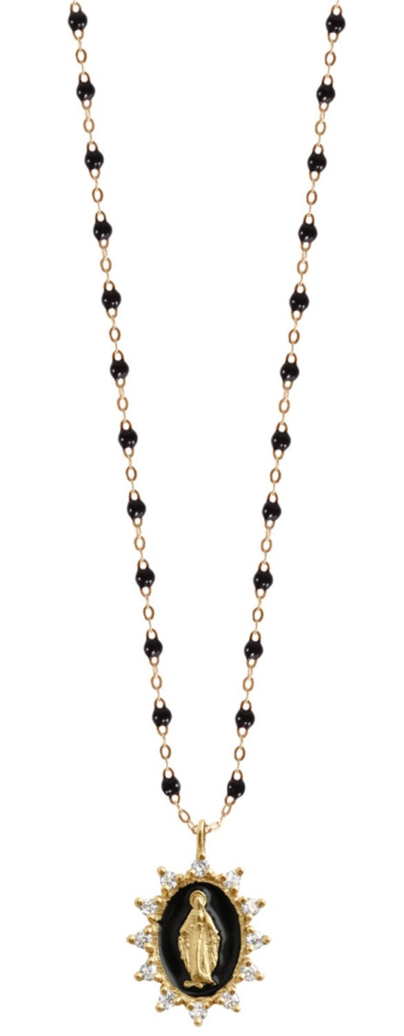 Petite Supreme Madone Necklace - BLACK + YELLOW GOLD
