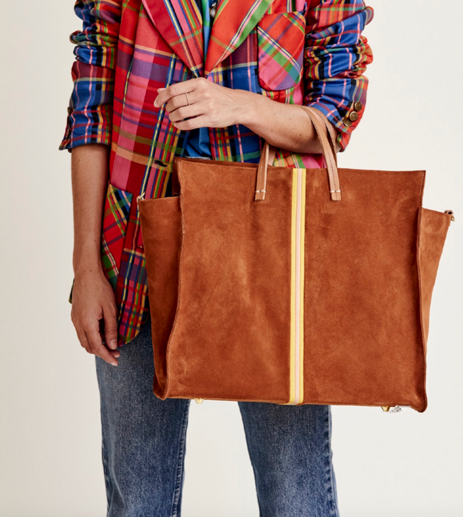 SIMPLE TOTE - CHESTNUT SUEDE with STRIPES