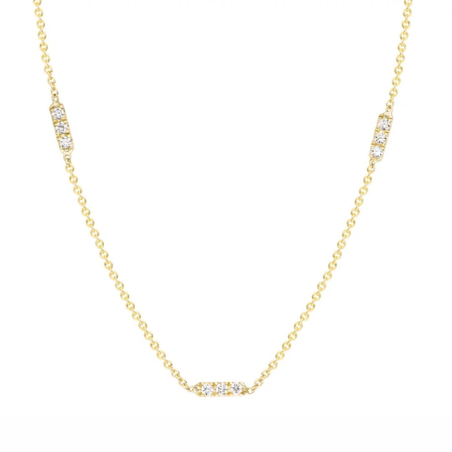Tic Tac Trio Necklace with Diamonds
