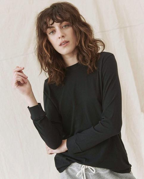 The Long Sleeve Slim Tee - ALMOST BLACK