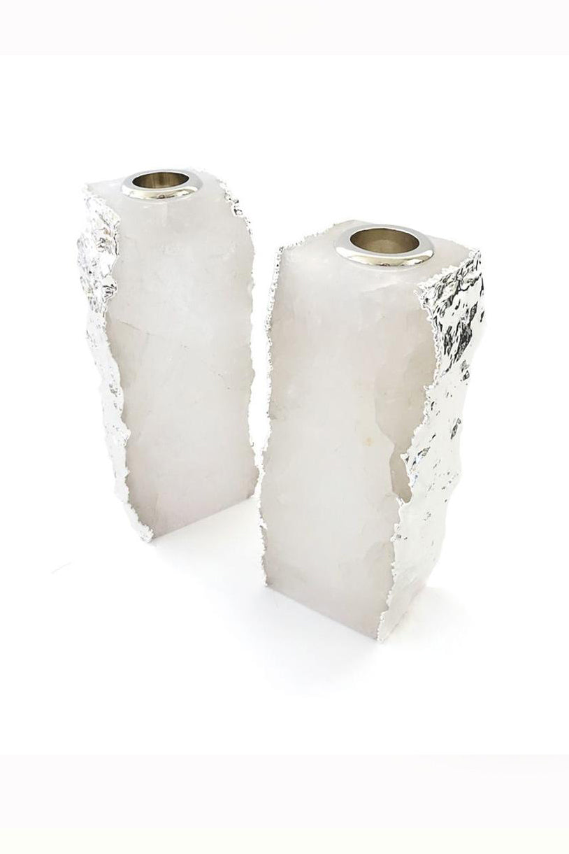 Dourado Candle Holders Crystal & Pure Silver