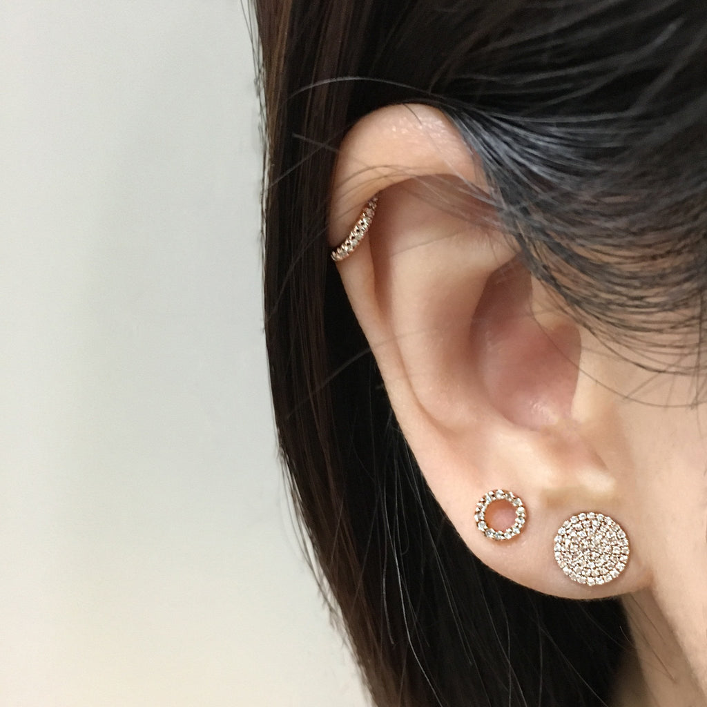 Diamond Circle Earrings - Rose Gold
