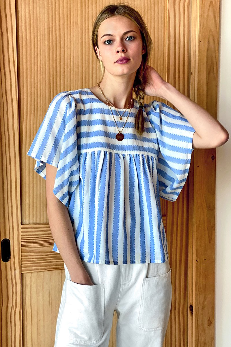 Basalie Top - Scallop Stripe Blue
