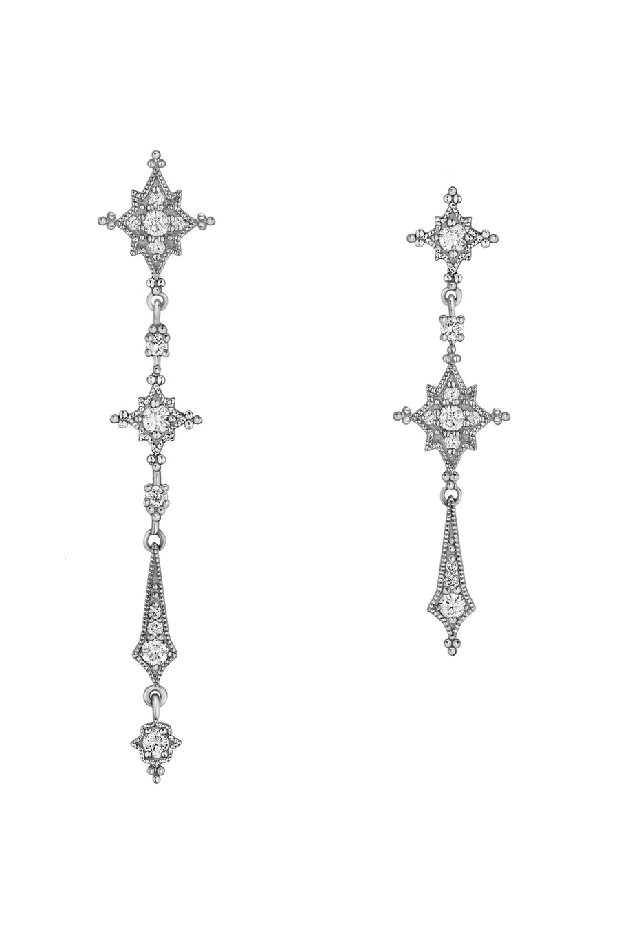 Stella Earrings - Black Gold and White Diamonds