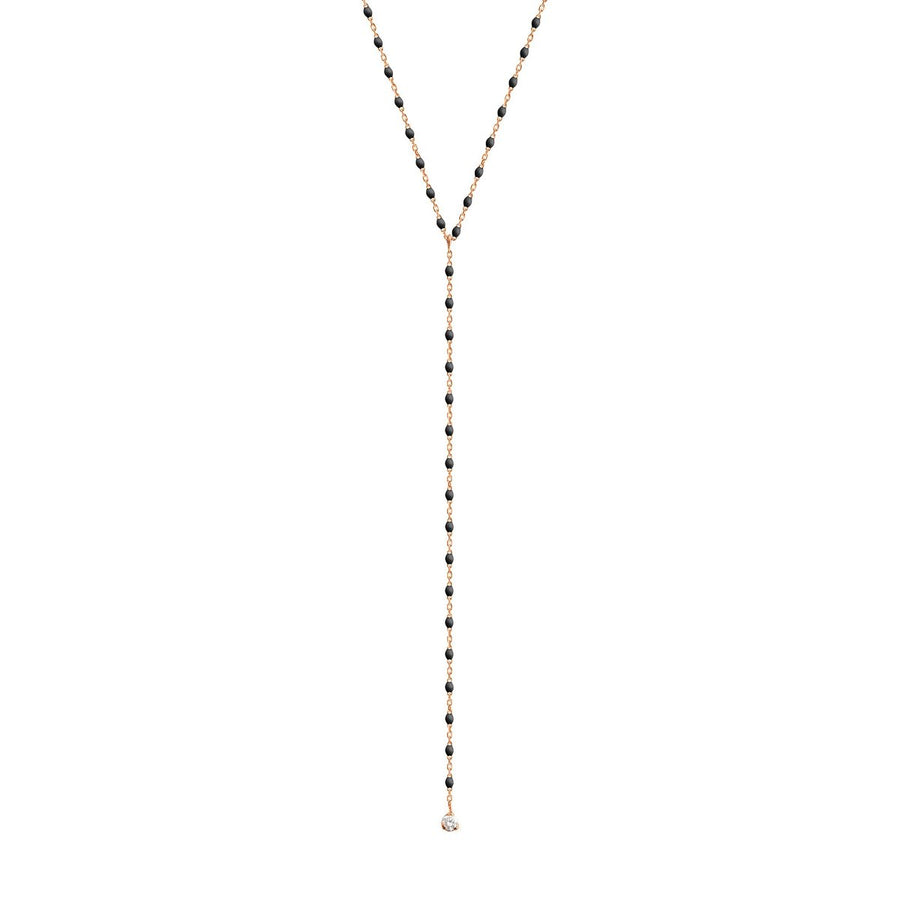"19.7"" Mini Party Y Necklace - BLACK + YELLOW GOLD"
