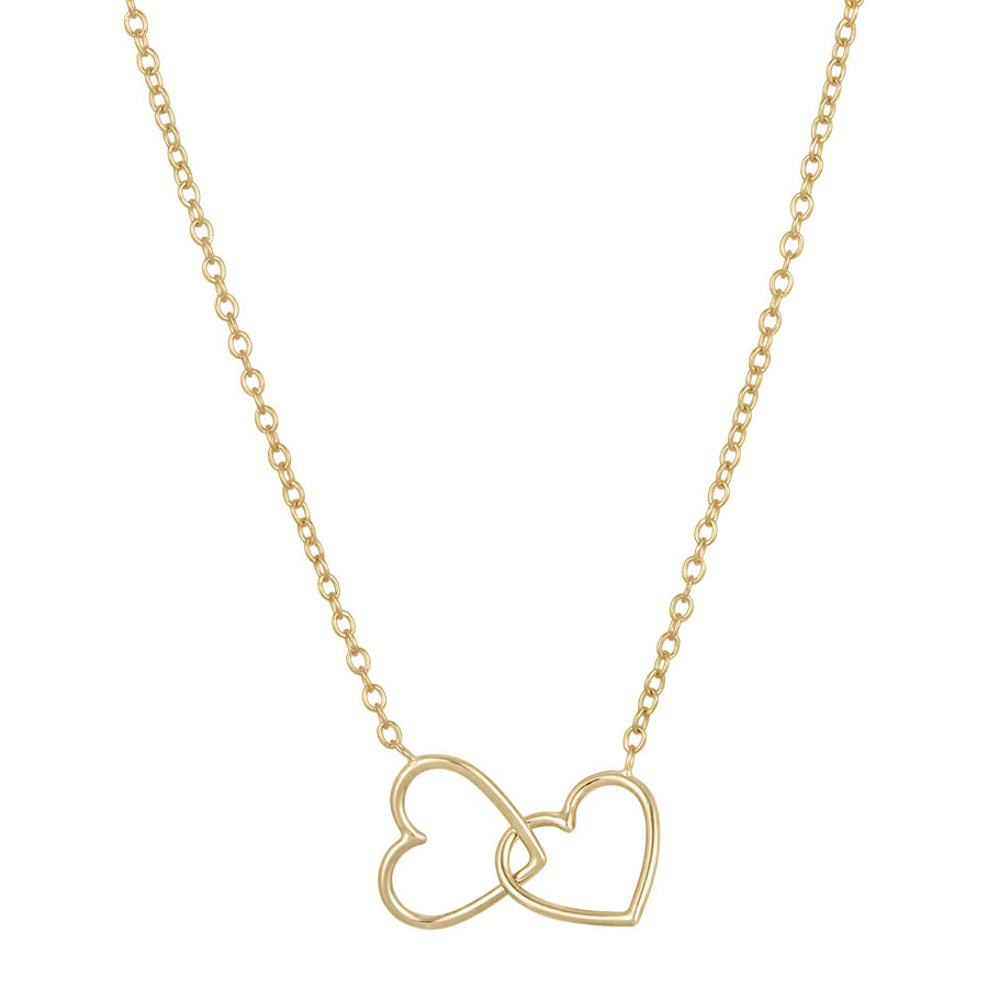 Double Heart Link Necklace - Yellow Gold