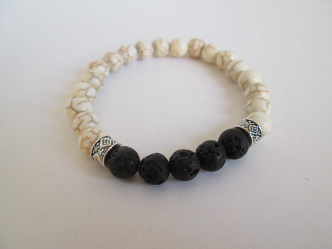 Beautiful Black Lava and White Howlite Beaded Bracelet - SpuzzosDeals