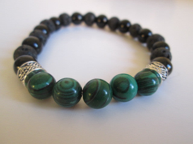 Stunning Bracelet Featuring Natural Malachite, Onyx, Lava and Silver Beads on Elastic Bracelet. Sizing is approximately 7.5 inches on stretch cord, and is elastic. - SpuzzosDeals