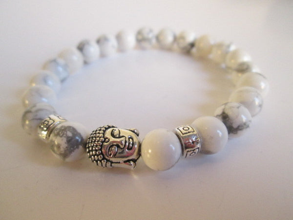 Beautiful White Howlite Natural Stone and Silver Buddha Bracelet - SpuzzosDeals