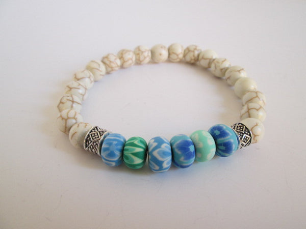 Beautiful Tie Dye and White Howlite Beaded Bracelet - SpuzzosDeals
