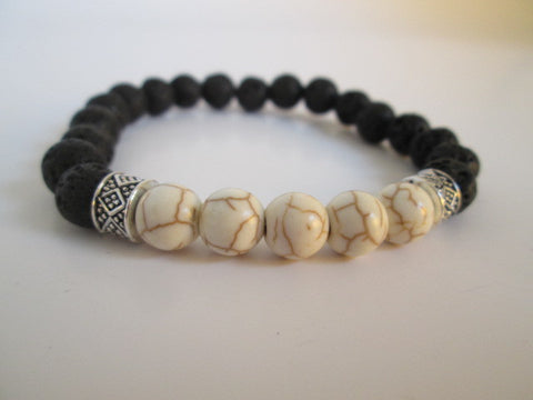 Stunning White Howlite and Lava Beaded Bracelet - SpuzzosDeals