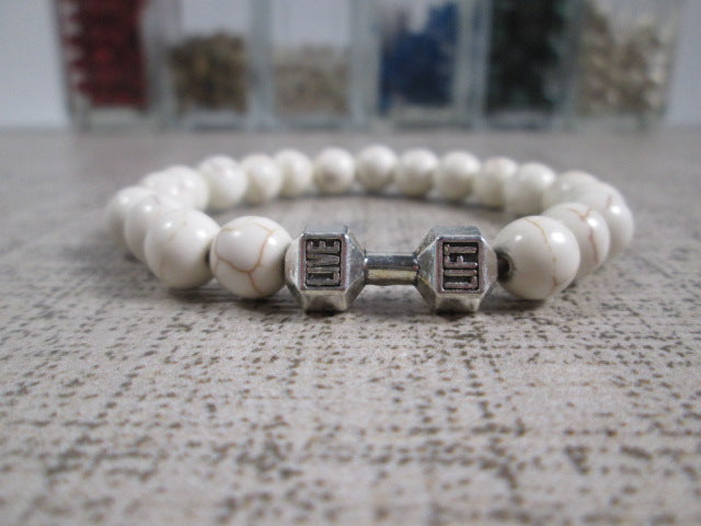 Stunning White Howlite Natural Stone and Silver Dumbbell Barbell Bracelet - SpuzzosDeals