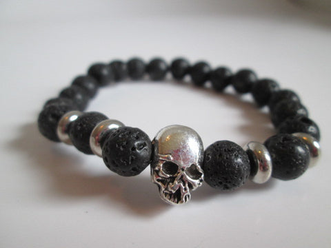 Gnarly Silver Skull and Black Lava Stone Beads Chakra Bracelet - SpuzzosDeals