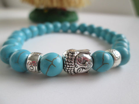 Beautiful Turquoise Howlite Natural Stone and Silver Buddha Bracelet on Elastic Bracelet. - SpuzzosDeals