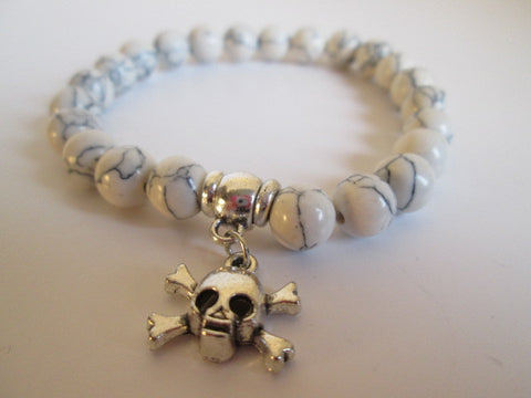 Gnarly White Howlite Natural Stone and Silver Skull And Crossbones Bracelet - SpuzzosDeals