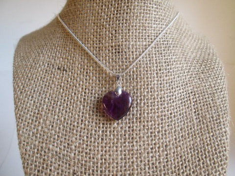 Stunning Heart Shaped Purple Amethyst Stone Pendant Necklace - SpuzzosDeals