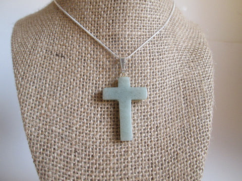 Stunning Cross Necklace Carved In Natural Green Aventurine Crystal Pendant - SpuzzosDeals