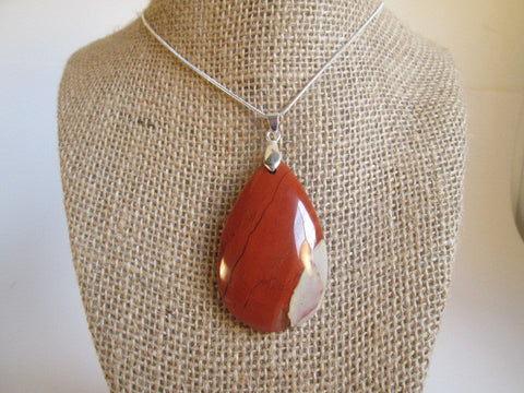 Stunning Natural Stunning Stripes Red Jasper Stone Pendant Necklace - SpuzzosDeals