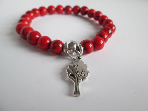 Beautiful Red Howlite and Silver Tree Charm on Elastic Bracelet - SpuzzosDeals