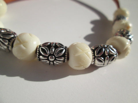 Cool Bracelet featuring Leather, bone and silver beads - SpuzzosDeals