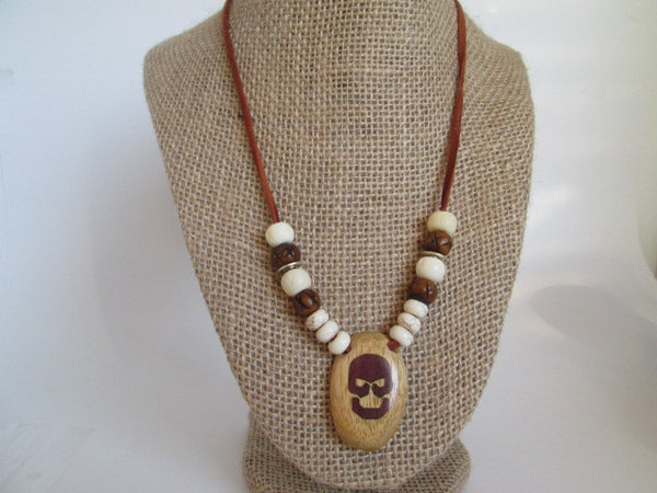 Handmade Necklace featuring leather cording, wooden alder skull with purple heart inlay - SpuzzosDeals